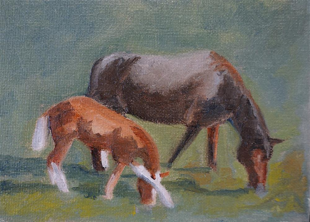 """Mom, I've Got an Itch"" original fine art by Catherine Van Berg"