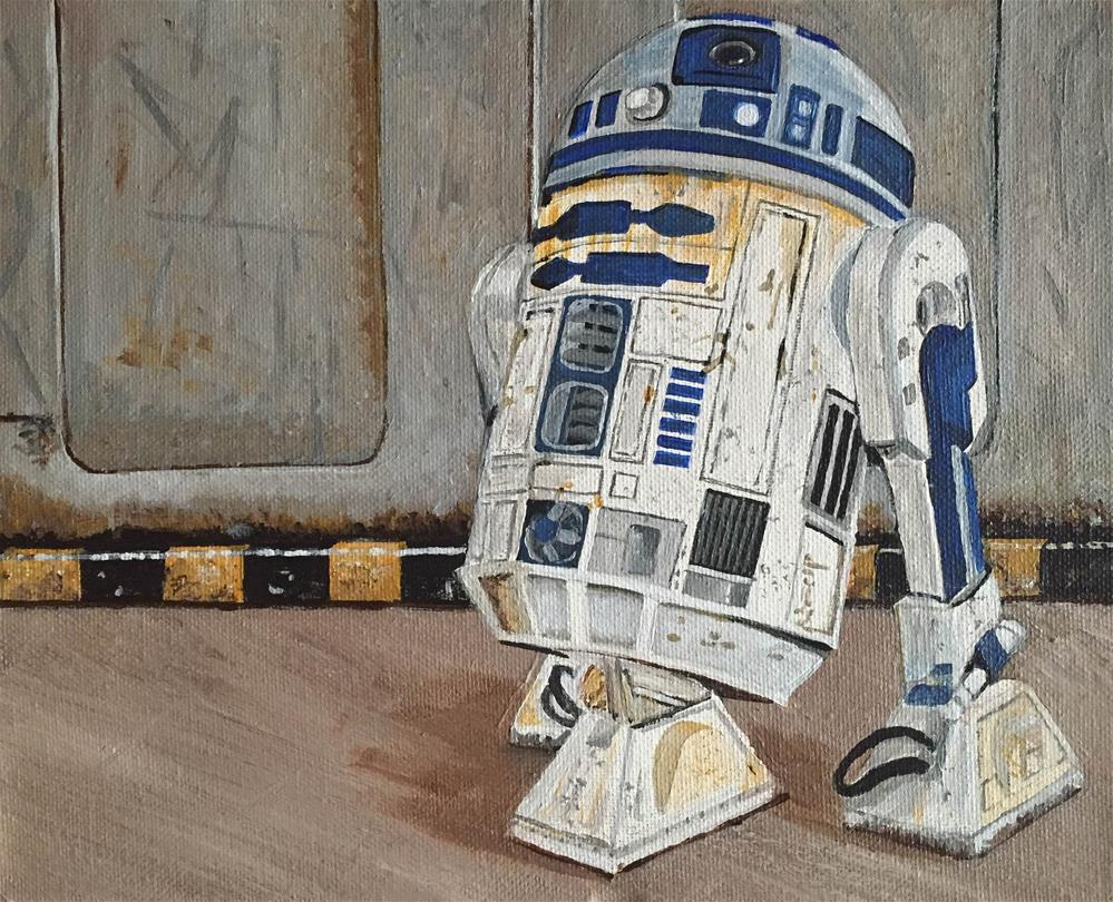 """R2D2"" original fine art by Helen Kuhn"