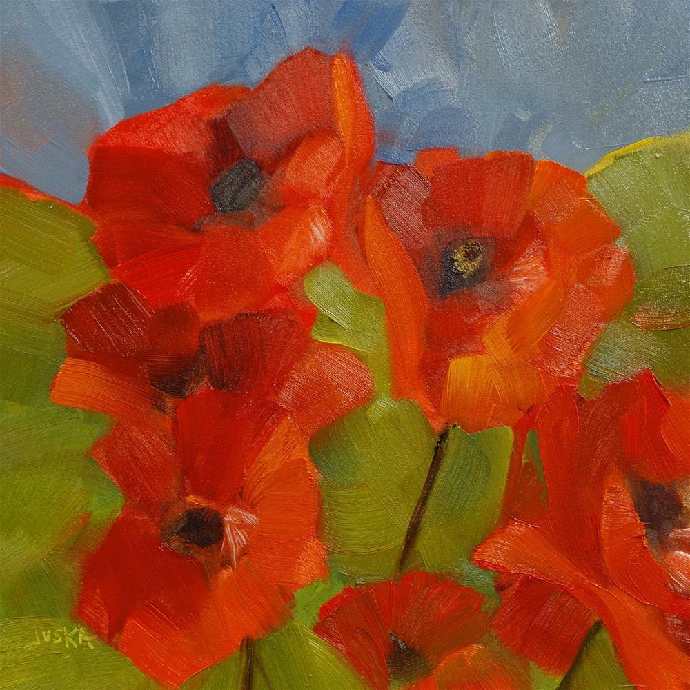 """Belgian Poppies"" original fine art by Elaine Juska Joseph"