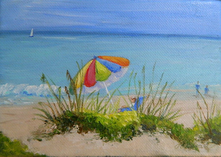 """At the Beach"" original fine art by Gloria Urban"