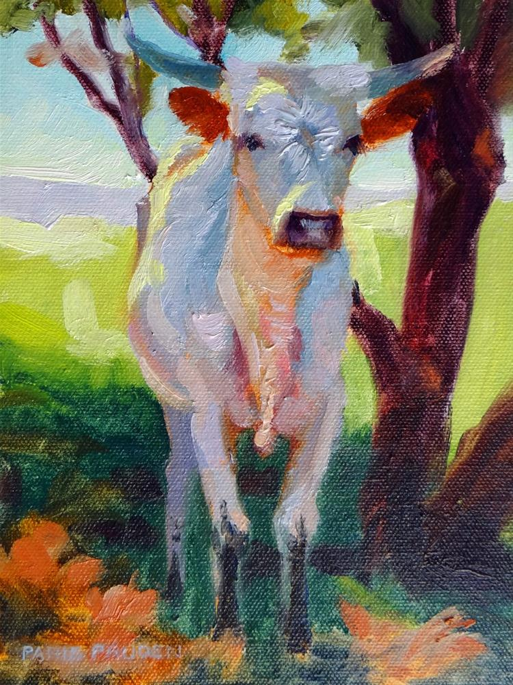 """Longhorn Teenager"" original fine art by Nancy Paris Pruden"