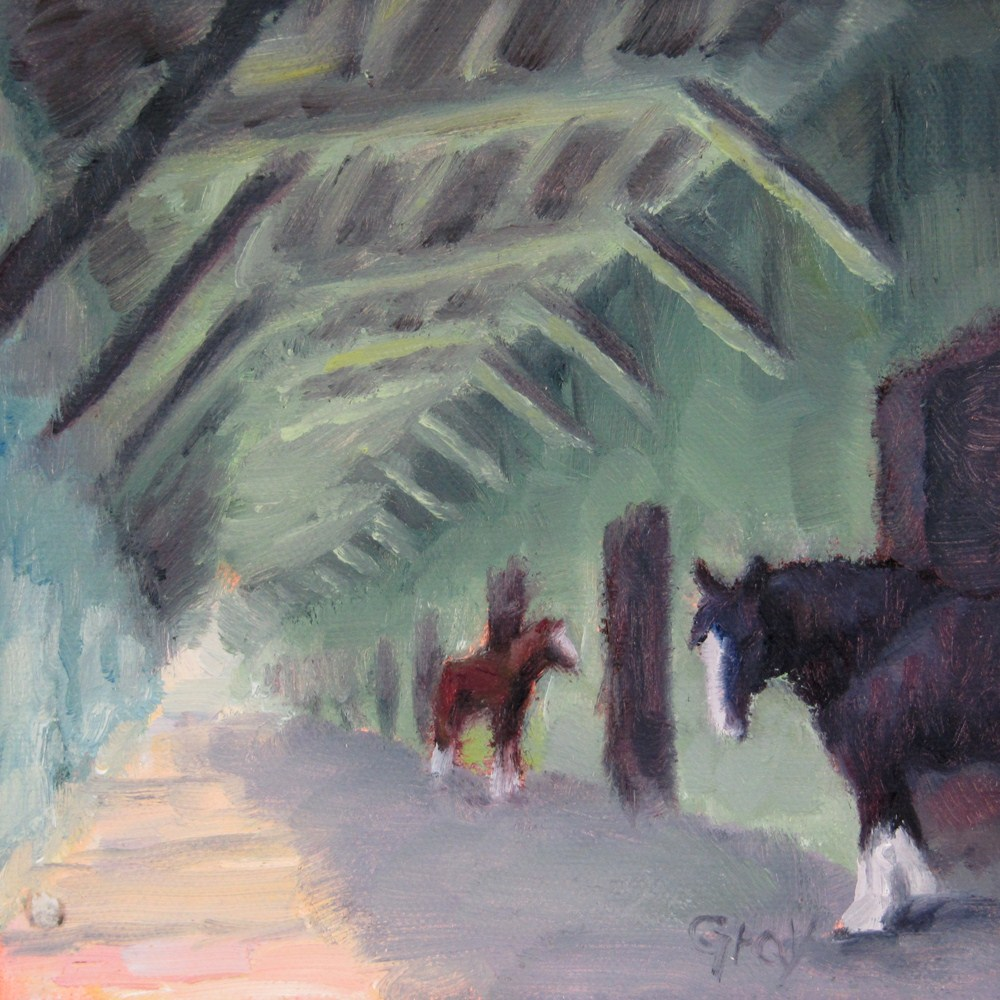 """Horse Barn Porch"" original fine art by Naomi Gray"