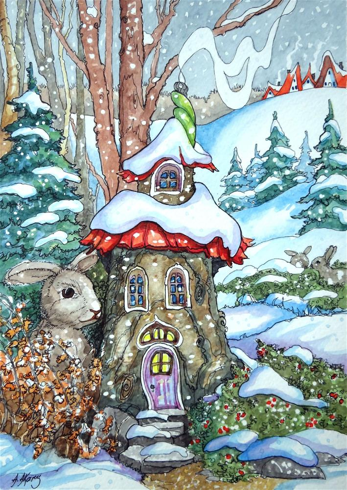"""Tree Stumps can be Cozy Storybook Cottage Series"" original fine art by Alida Akers"