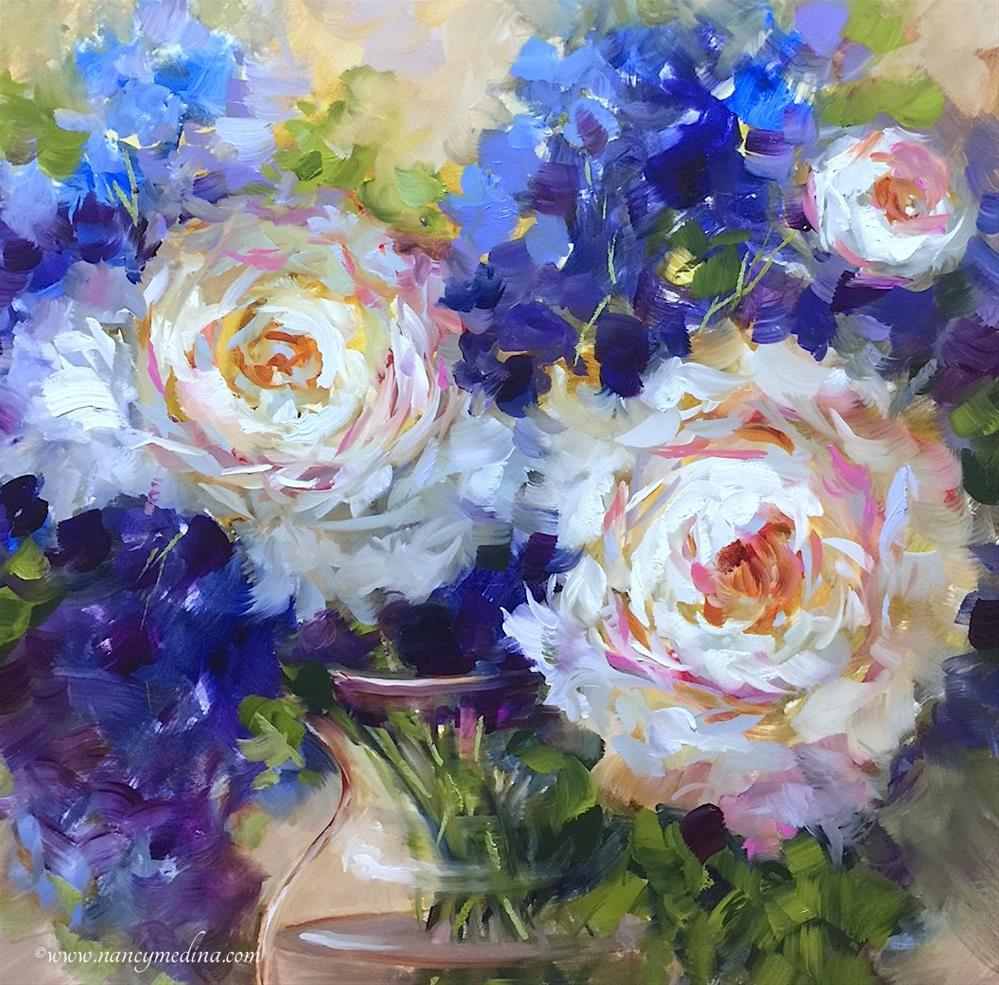 """Peonies and Delphs Adrift and Paint With Me Online"" original fine art by Nancy Medina"