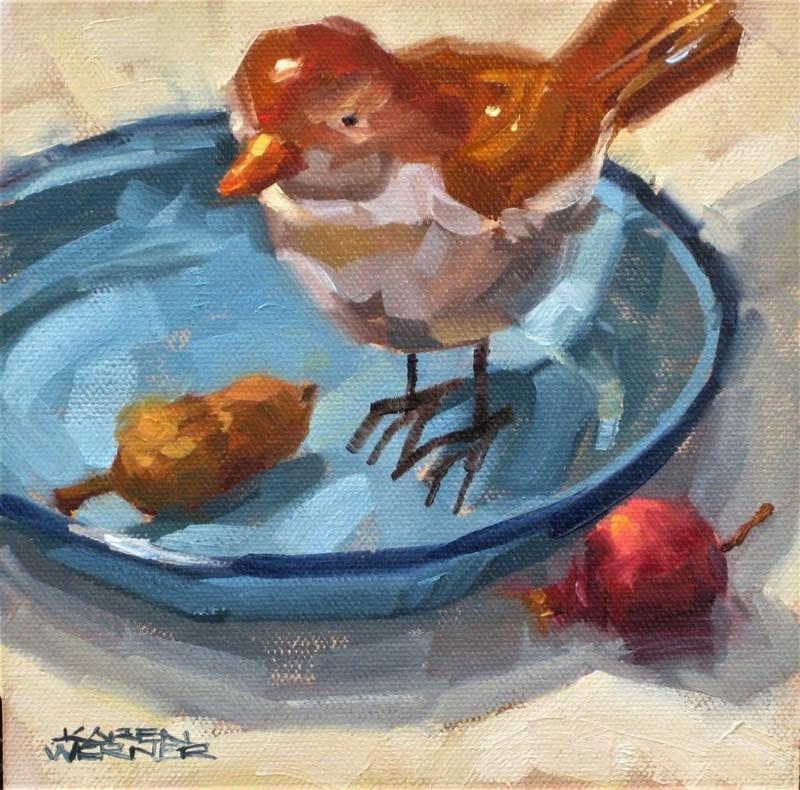 """""""Blue Bowl Bird"""" original fine art by Karen Werner"""