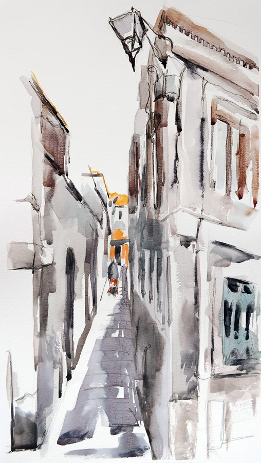 """""""1396 Alley Sketch"""" original fine art by Dietmar Stiller"""