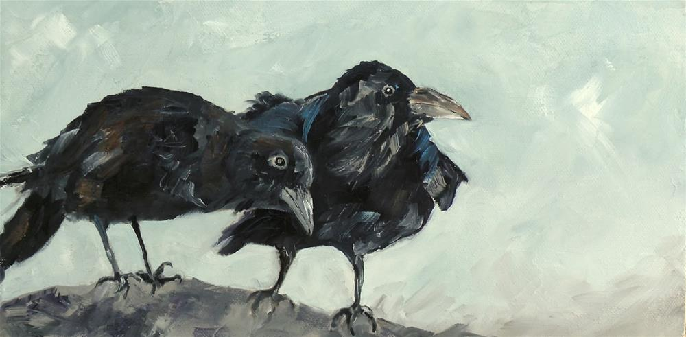 """RAVEN'S PERCH AND ACORN TRIO MINI ORIGINAL OIL ON TEXTURED CANVAS © SAUNDRA LANE GALLOWAY"" original fine art by Saundra Lane Galloway"