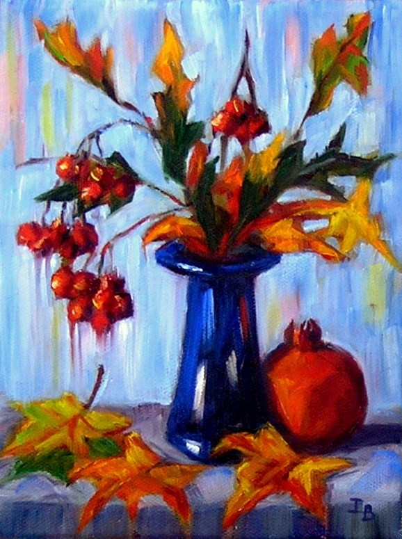 """Still Life with Red Berries 2"" original fine art by Irina Beskina"