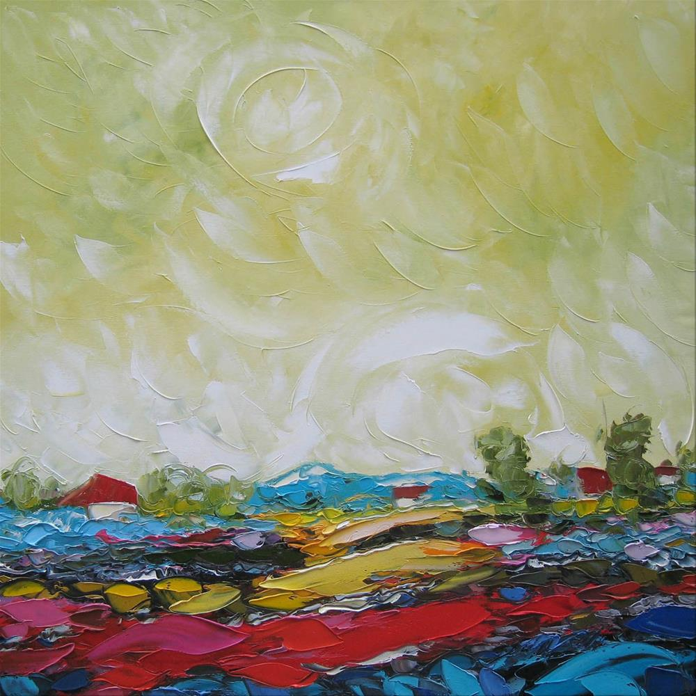 """Red vineyard"" original fine art by Elena Lunetskaya"