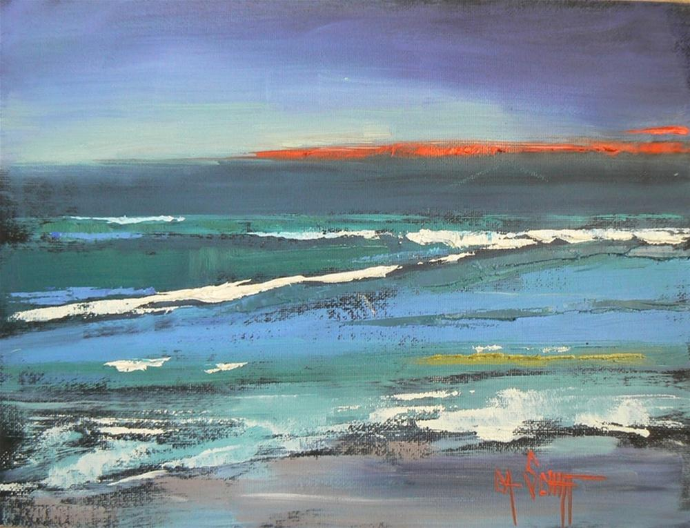 """Abstract Daily Painting, Layers, Seascape, 6x8"" original fine art by Carol Schiff"