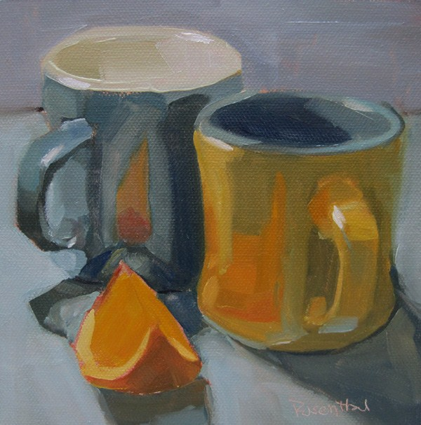 """Two Mugs and Orange Slice"" original fine art by Robin Rosenthal"