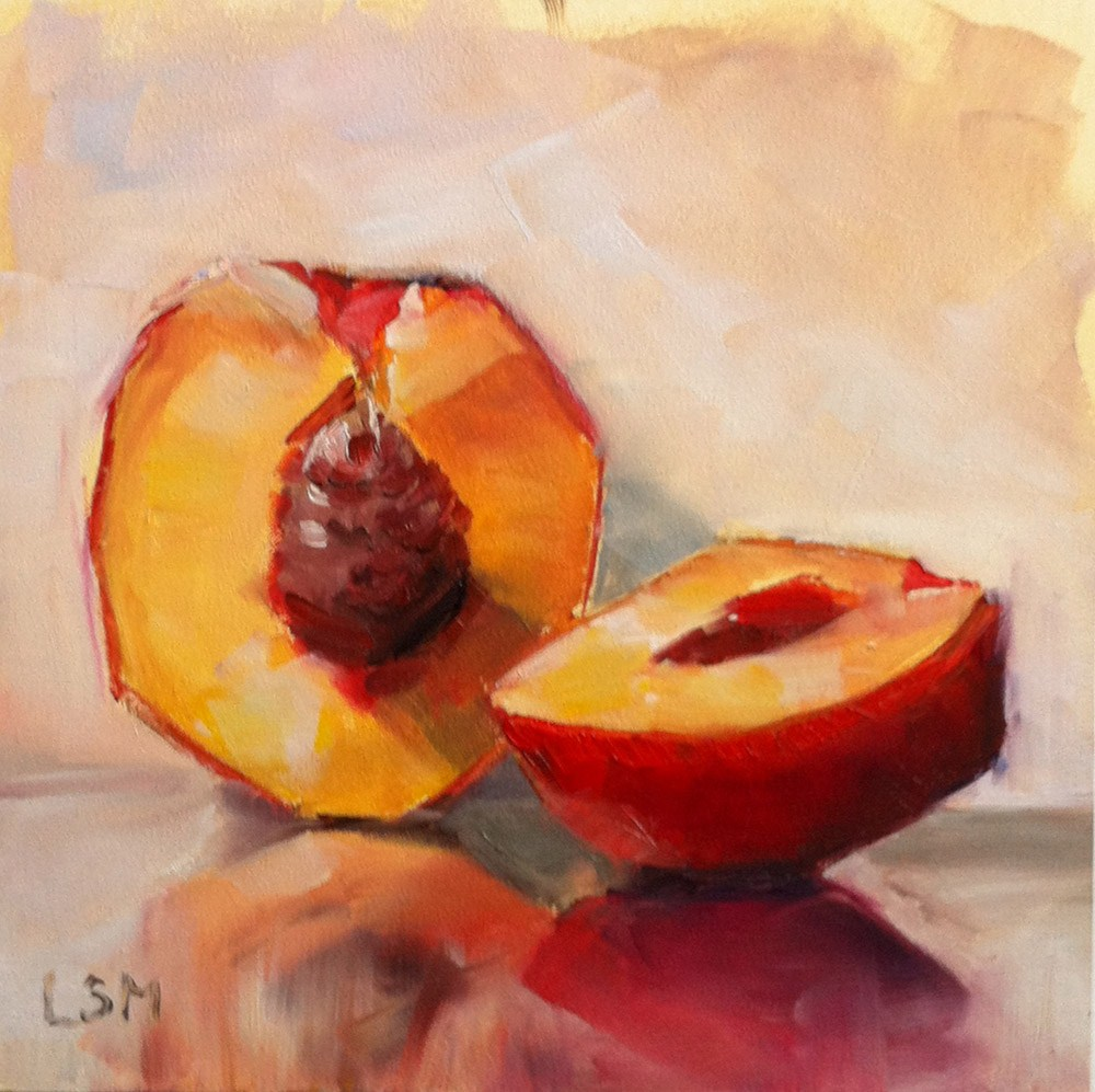 """Nectarine Sliced"" original fine art by Linda Marino"