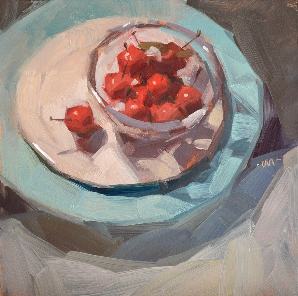 """Cherry Plum Bowl"" original fine art by Carol Marine"
