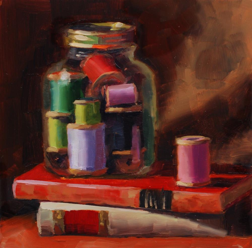 """No. 681 The Return of Peggy's Jar of Spools"" original fine art by Susan McManamen"