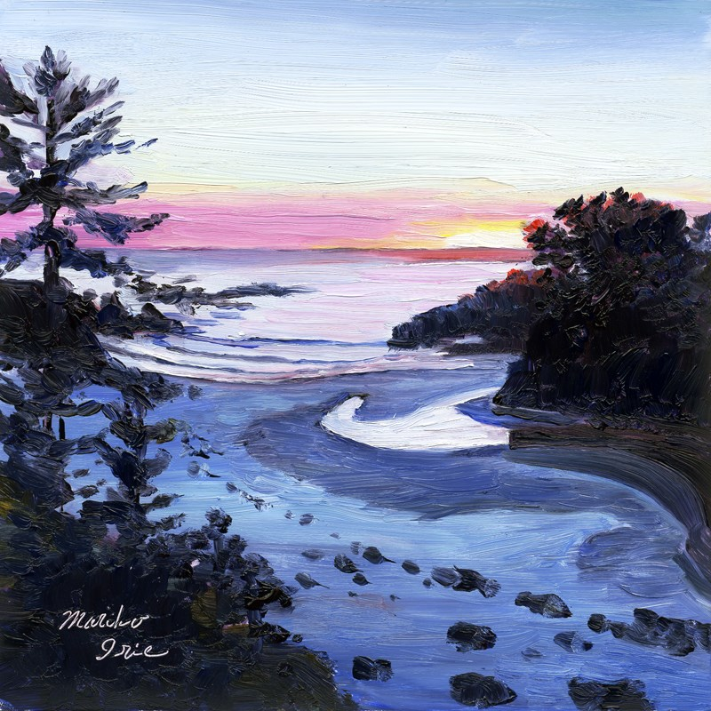 """Sunset at Jug Handle Beach"" original fine art by Mariko Irie"