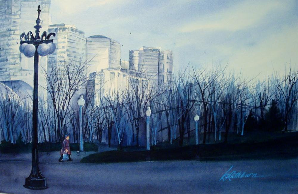 """Early Winter at Dusk-Chicago"" original fine art by Kathy Los-Rathburn"