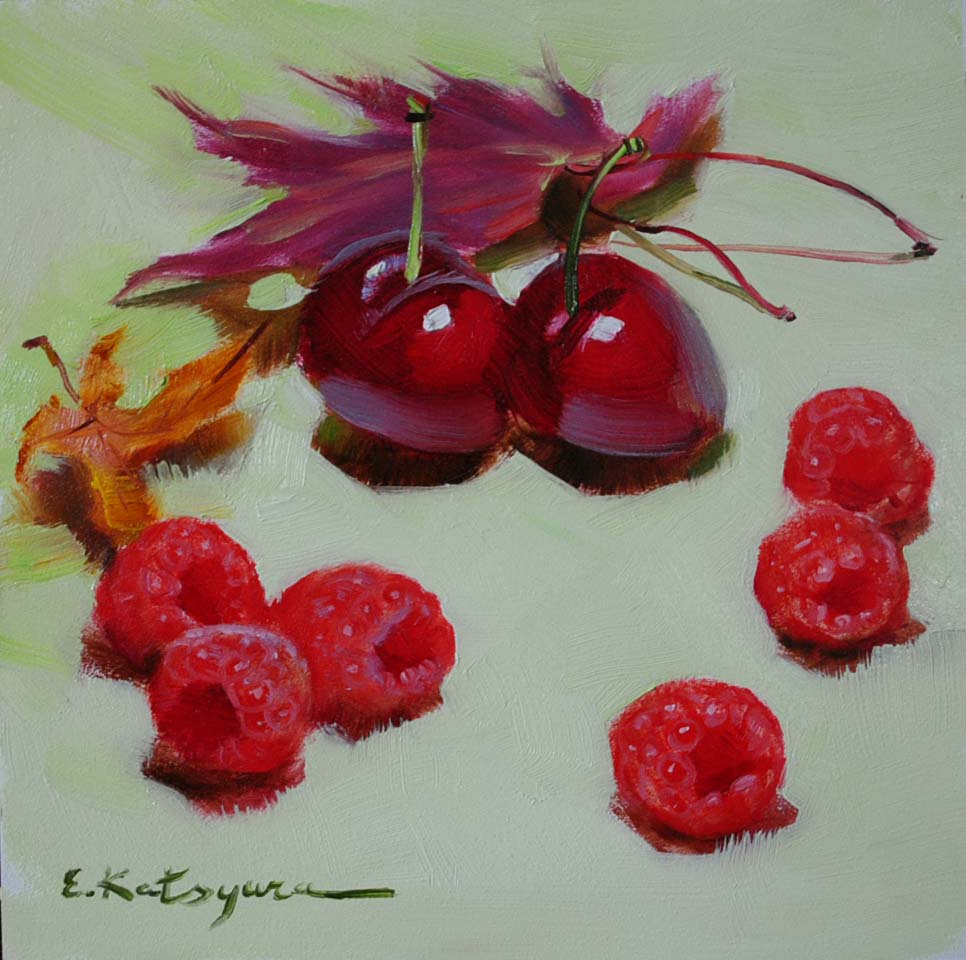 """First Raspberries of 2012"" original fine art by Elena Katsyura"