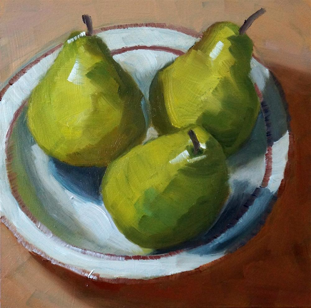 """Pears in bowl"" original fine art by Dipali Rabadiya"