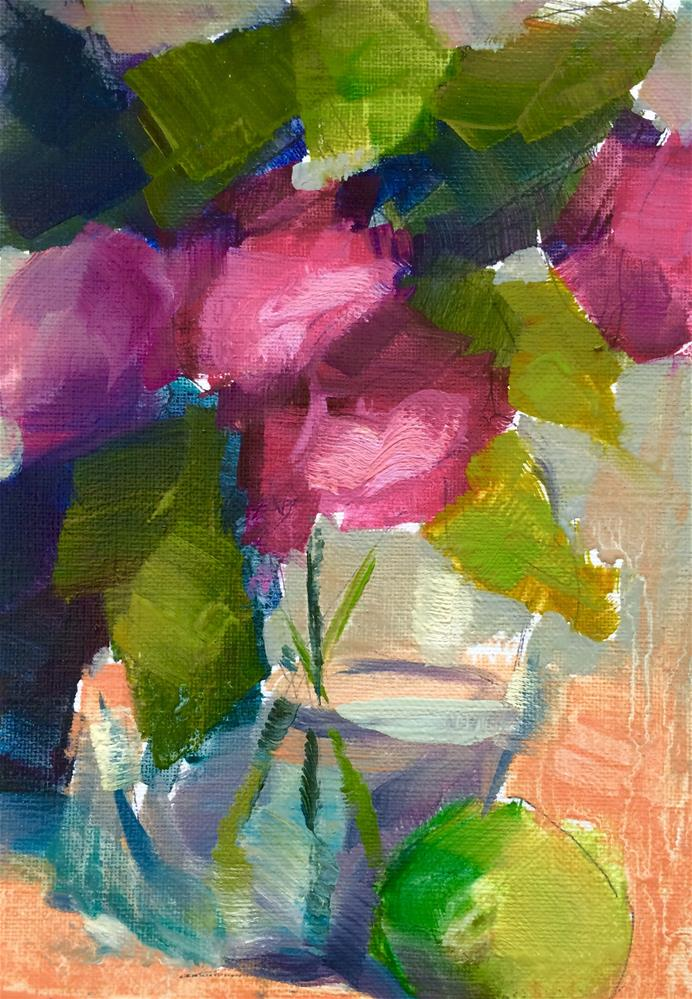 """""""Red Flowers and fruit"""" original fine art by Naomi Bautista"""