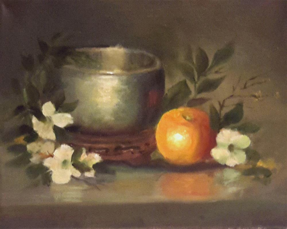 """Singing Bowl, Orange, Orange Blossoms"" original fine art by Jessica Veilleux"