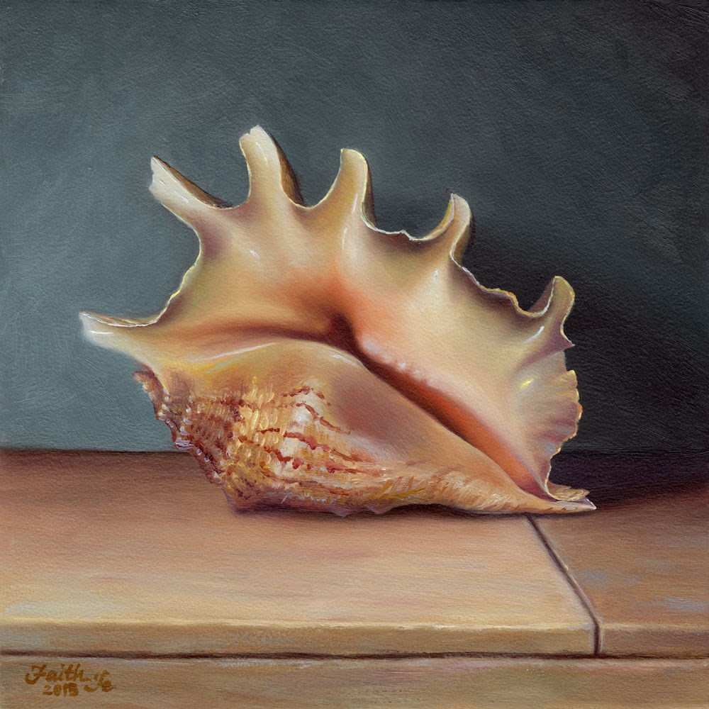 """Conch Shell No. 3"" original fine art by Faith Te"
