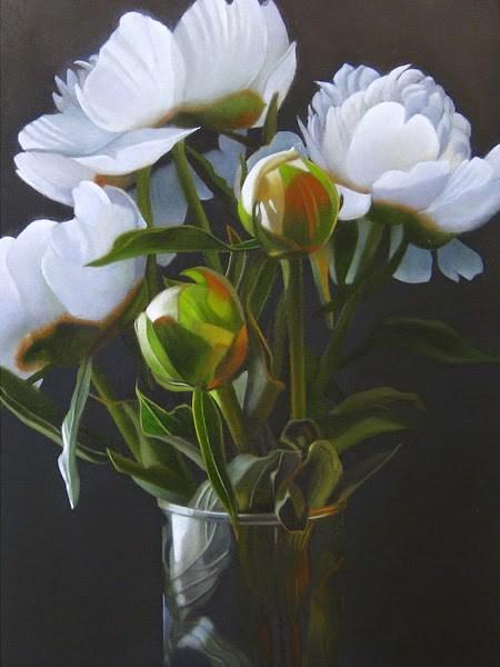 """White Peony 6x8"" original fine art by M Collier"