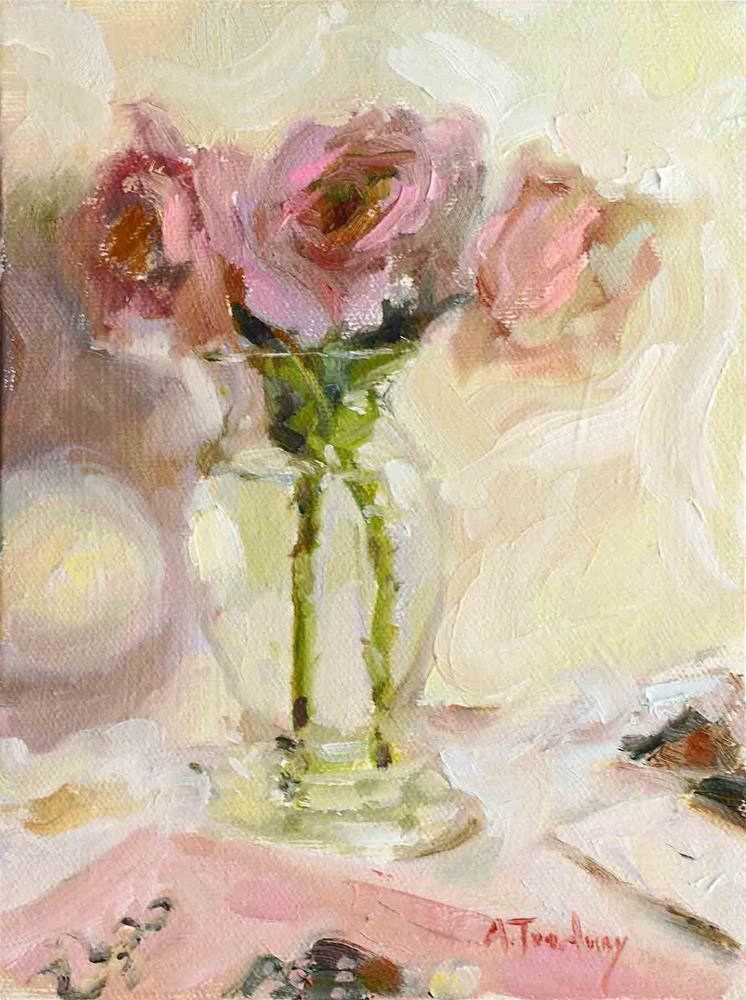 """Pink Roses with Card"" original fine art by alicia tredway"