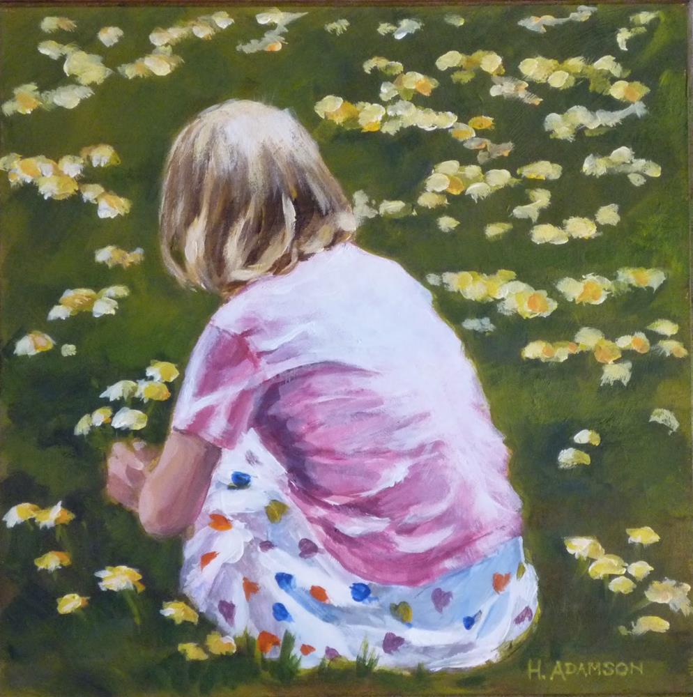 """Why Not A Dandelion Bouquet?"" original fine art by Helene Adamson"