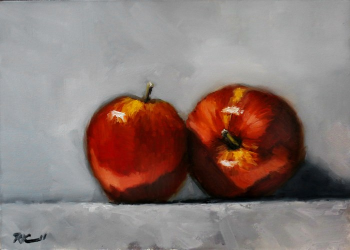"""Two Apples"" original fine art by Bob Kimball"