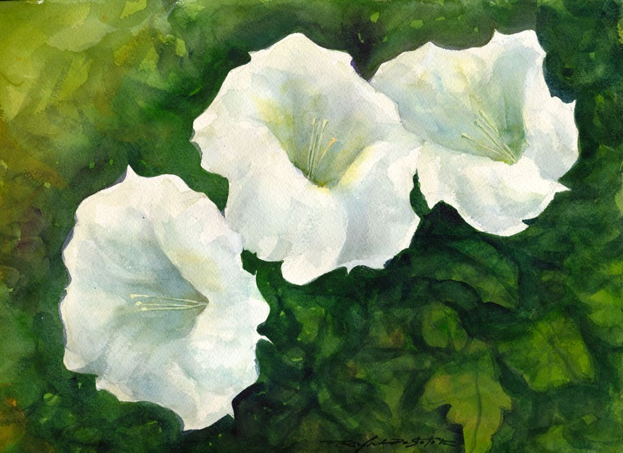 """Moonflower Trio"" original fine art by Rafael DeSoto Jr."