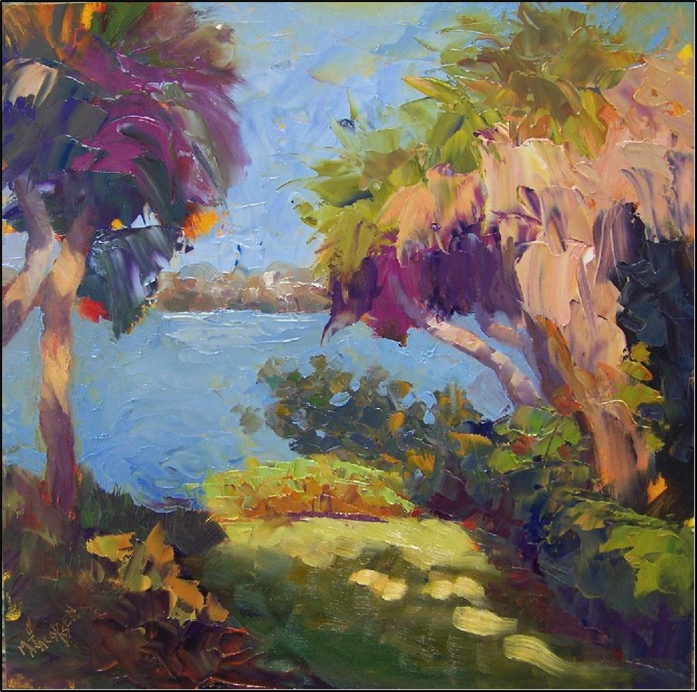 """Bay Preserve Palms"", 12x12, field study by Maryanne jacobsen, plein air, alla prima, field study, p original fine art by Maryanne Jacobsen"
