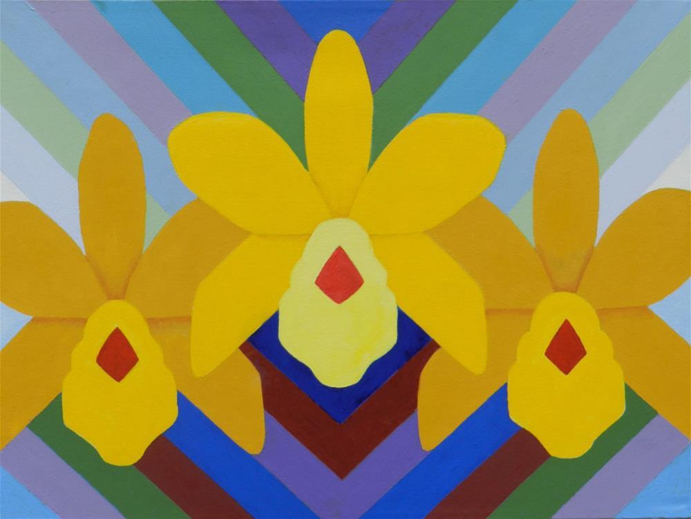 """Three Yellow Orchids"" original fine art by Velma Davies"
