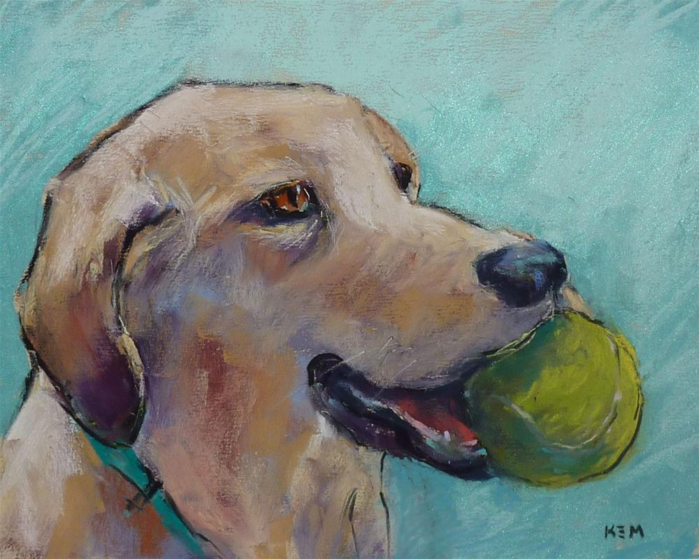 """The Benefits of a Dog in the Studio"" original fine art by Karen Margulis"