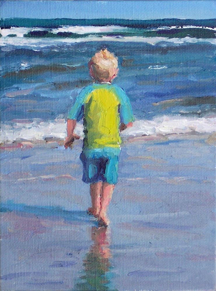 """Her I Go Again,figure,oil on canvas,8x6,price$400"" original fine art by Joy Olney"