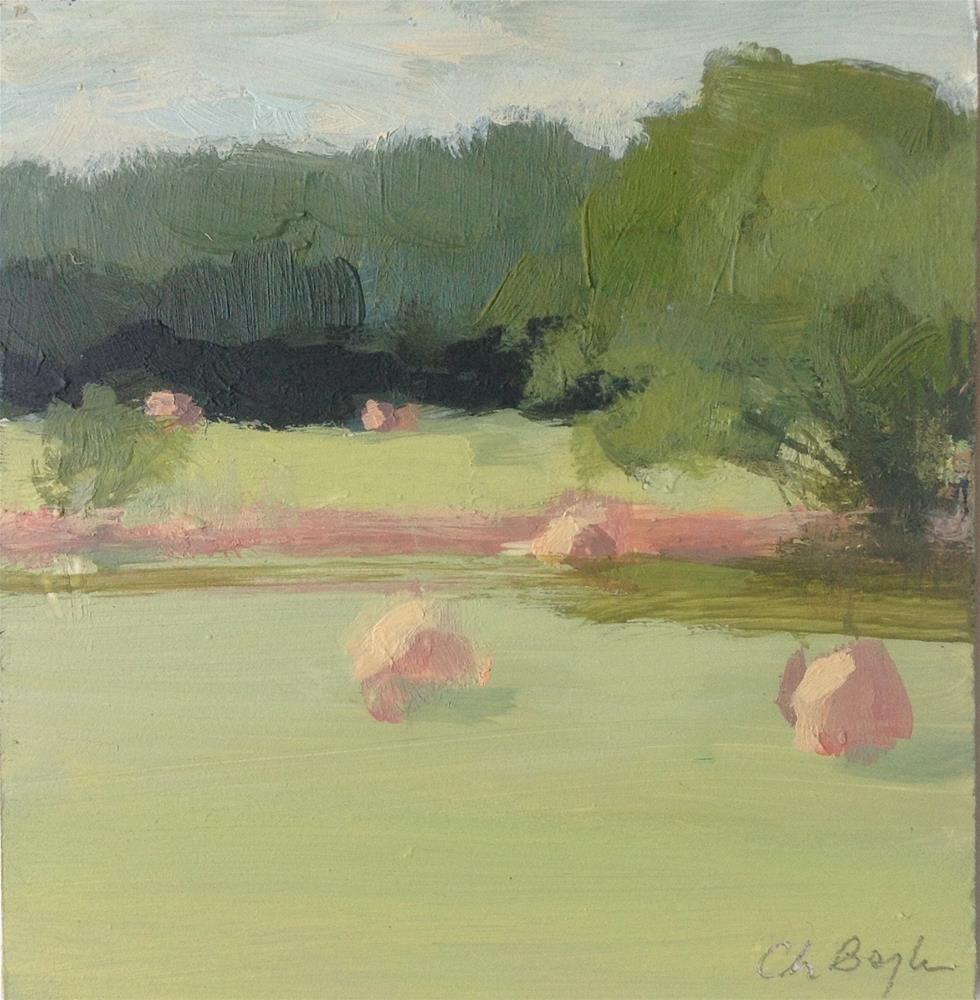 """Hay landscape"" original fine art by Christine Bayle"