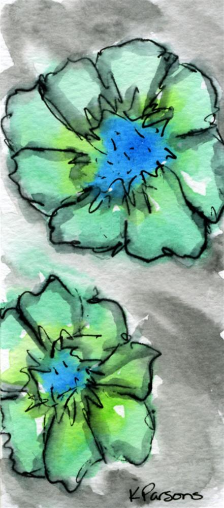 """Blue and Green"" original fine art by Kali Parsons"