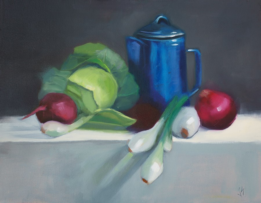 """Blue Graniteware with Cabbage and Onions (14x18)"" original fine art by Johnna Schelling"