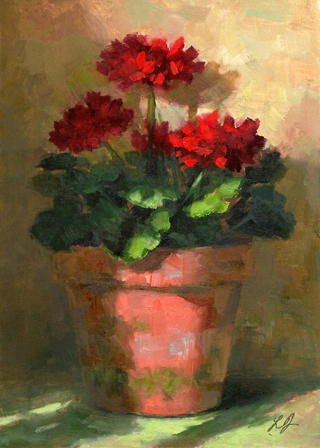 """Geraniums in Light"" original fine art by Linda Jacobus"