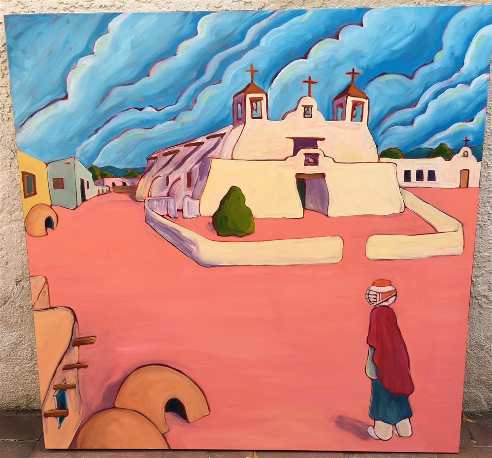 """serene at Isleta church"" original fine art by Robyn Wellman"