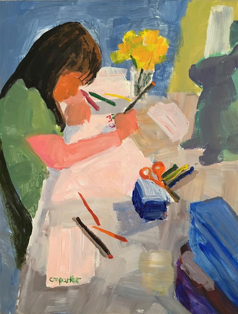 """Child drawing"" original fine art by Christine Parker"