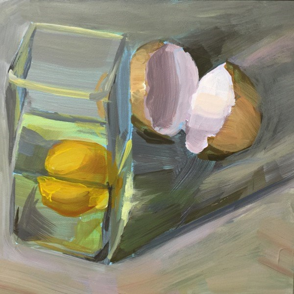 """Round Egg In a Square Glass"" original fine art by Mary Pargas"