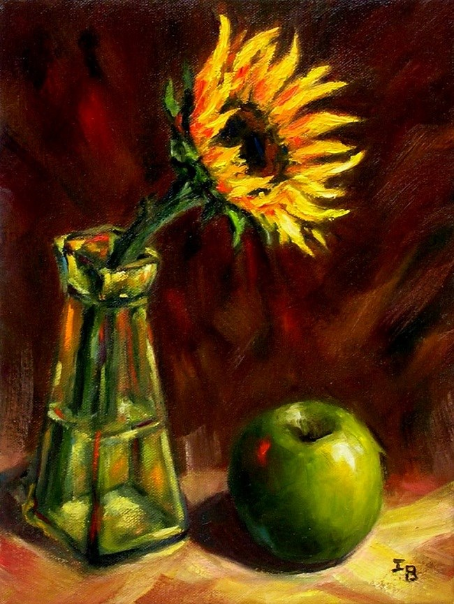 """Still Life with Green Apple"" original fine art by Irina Beskina"