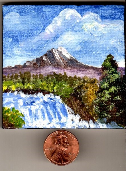 """Mini Gem 2 with Easel In the Manner of Bob Ross"" original fine art by Patricia Ann Rizzo"