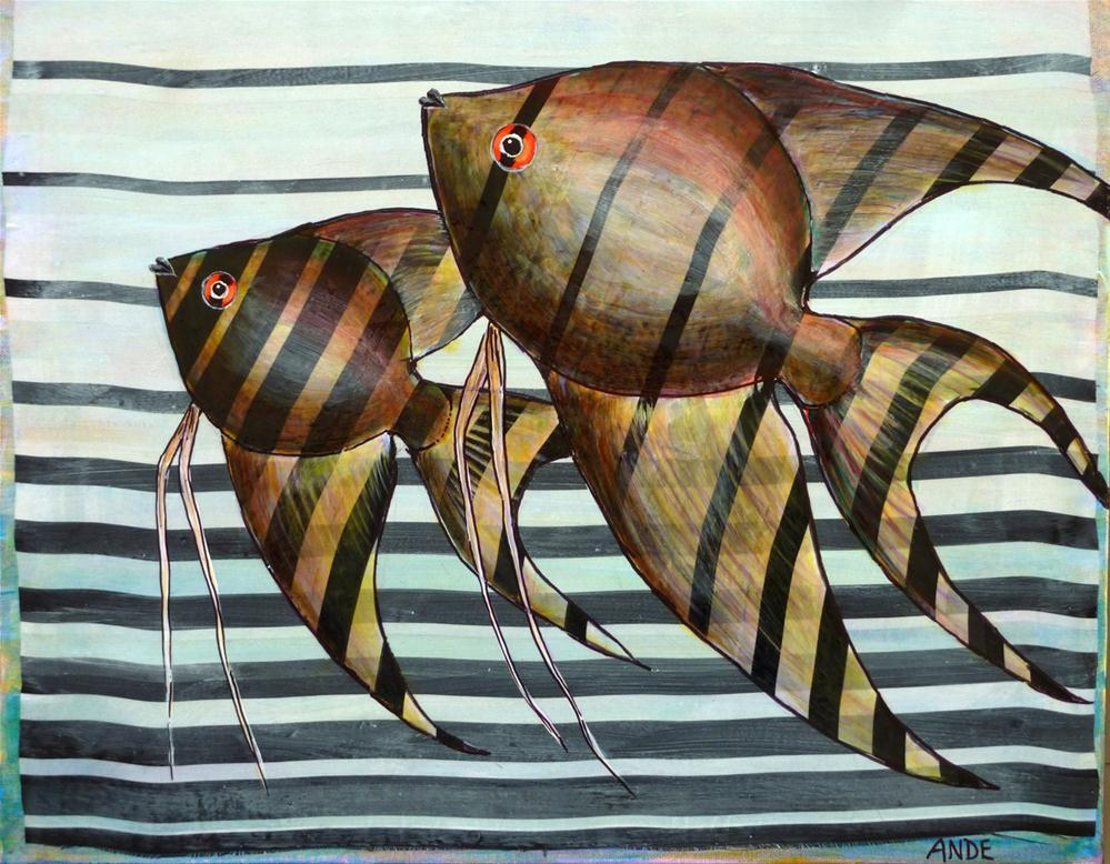 """Angelfish Rising"" original fine art by Ande Hall"
