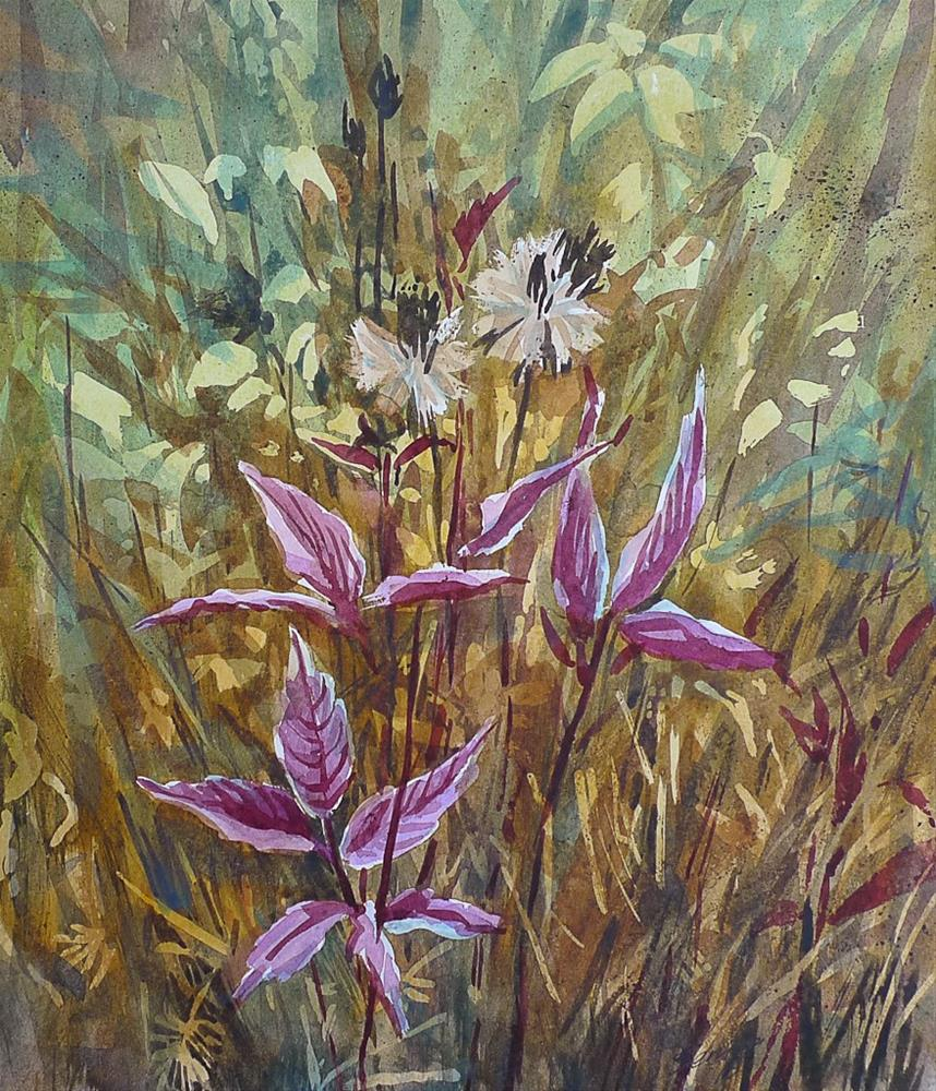 """Forest grass"" original fine art by Elena Senina"