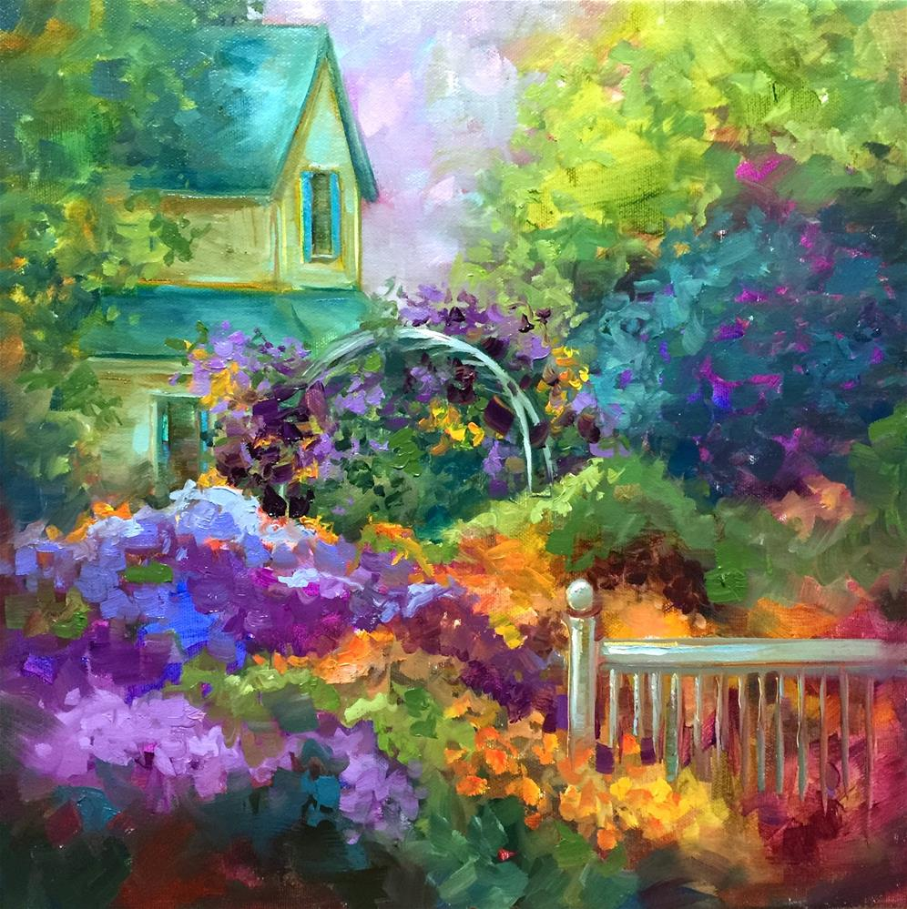 """Violet Veranda"" original fine art by Nancy Medina"