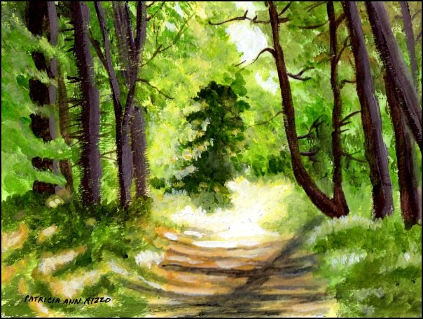 """Sun on Woodland Path"" original fine art by Patricia Ann Rizzo"