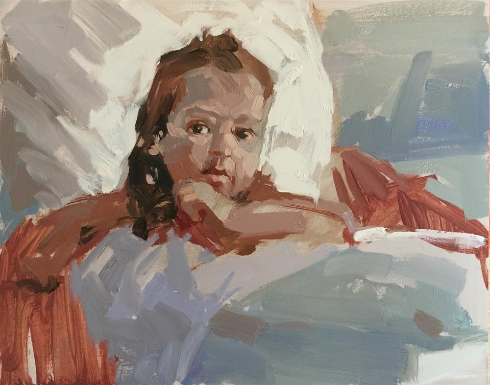 """Little girl in an armchair"" original fine art by Haidee-Jo Summers"