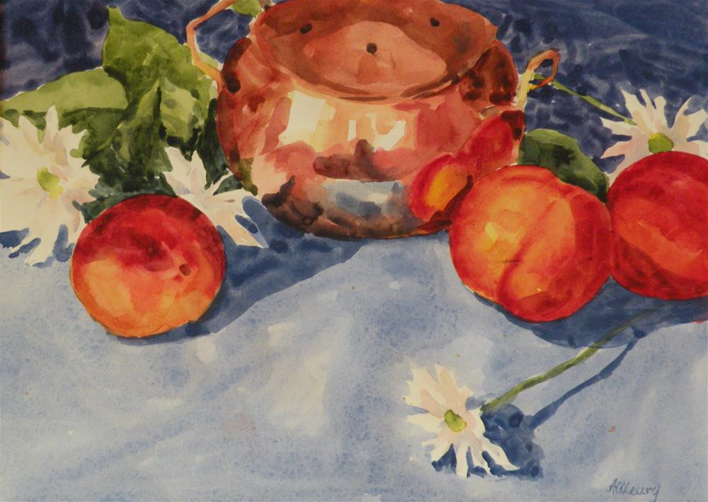 """Peaches and Daisies"" original fine art by Alice O'Leary"