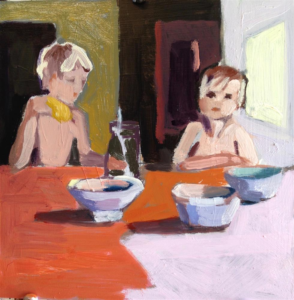 """Breakfast Brothers"" original fine art by Pamela Hoffmeister"
